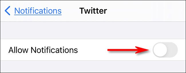 """Tap """"Allow Notifications"""" to turn notifications off."""