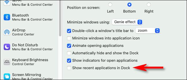 """Nas preferências """"Dock & Menu Bar"""", desmarque """"Mostrar aplicativos recentes no Dock""""."""