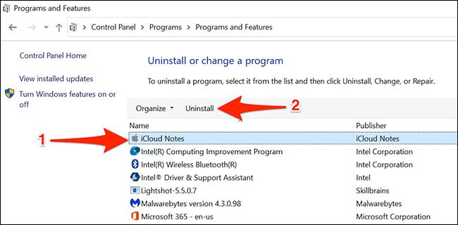 Uninstall Notes app on Windows 10
