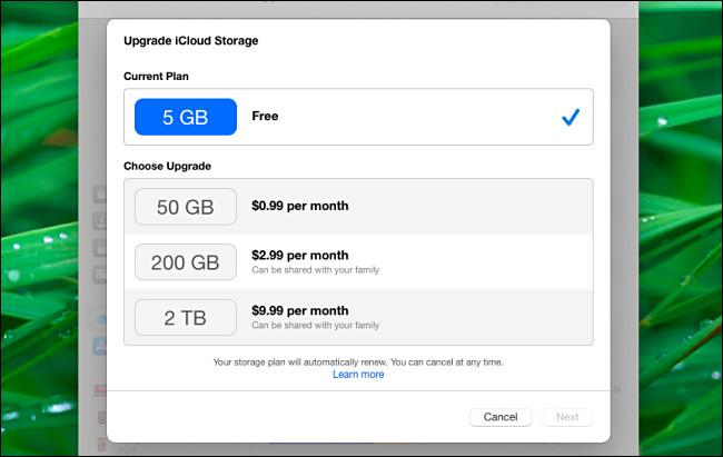The iCloud Upgrade iCloud Stroage menu on a Mac in Big Sur.