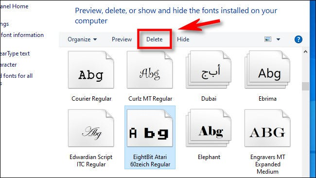 """To delete a font, select it from the list and click """"Delete."""""""