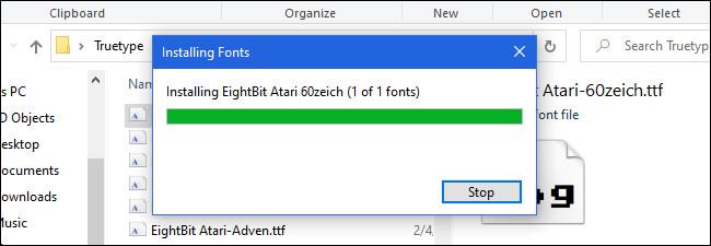 Installing fonts in Windows 10.