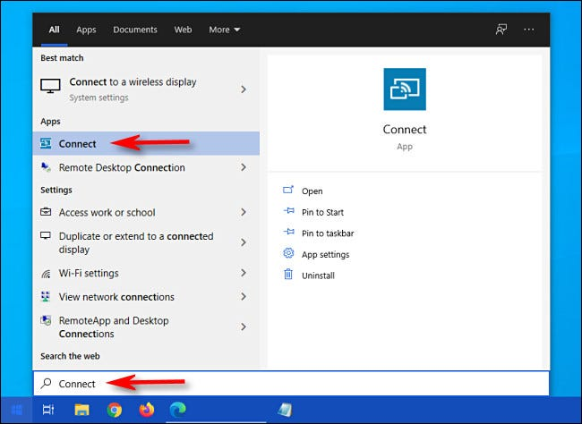 """Open the Start menu, type """"connect,"""" then select the """"Connect"""" app from the list."""