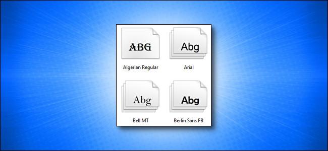 Windows fonts on blue background