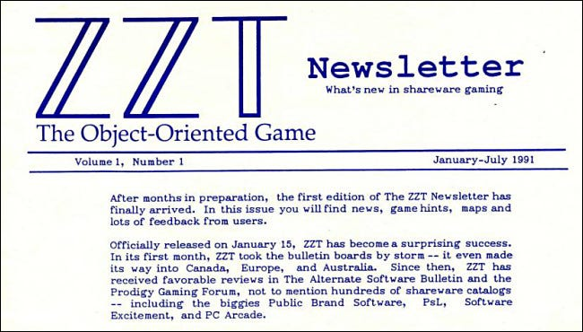 The first issue of ZZT Newsletter from 1991