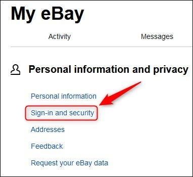 "ebay's ""Sign-in and security"" menu option."