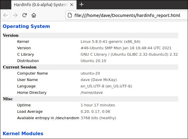 отчет hardinfo HTML в веб-браузере