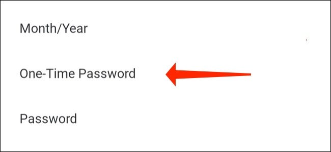 """Tap """"One-time password"""""""