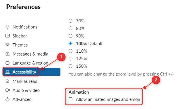 """The """"Allow animated images and emoji"""" checkbox."""