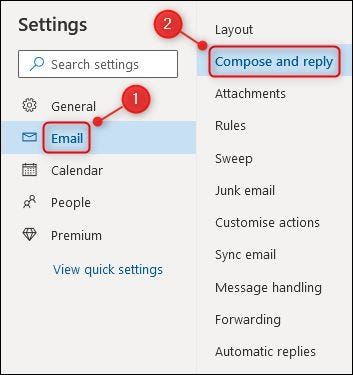 """The """"Email"""" menu and the """"Compose and reply"""" option."""