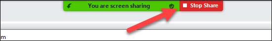 stop share a tábla bezárásához