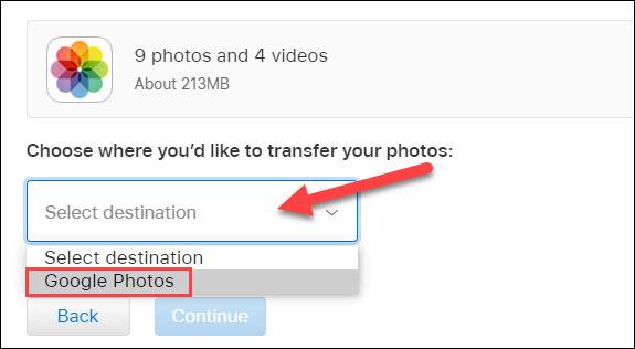 select google photos from the drop down menu
