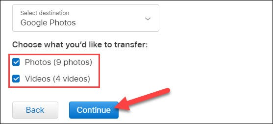 select the content to copy and click continue
