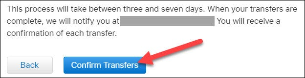 click confirm transfers to complete