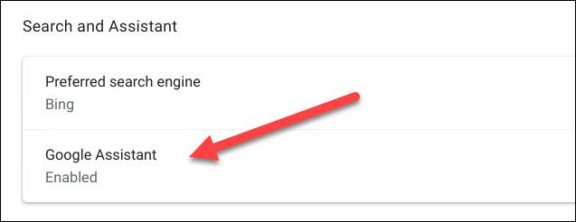 "Choose the ""Google Assistant"" option"