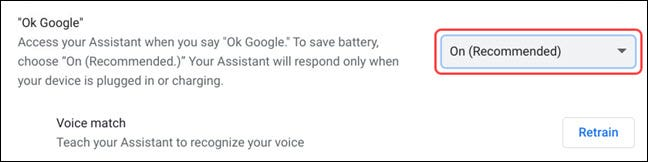 """Choose if you want """"OK Google"""" voice commands enabled"""