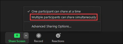 Több résztvevő is megoszthatja egyszerre.