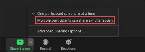Multiple participants can share simultaneously.