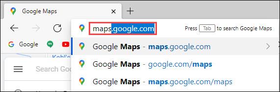 google maps web browser