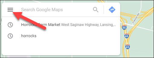 ícone do menu de mapas
