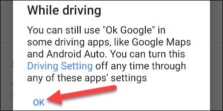 ok google vezetés közben