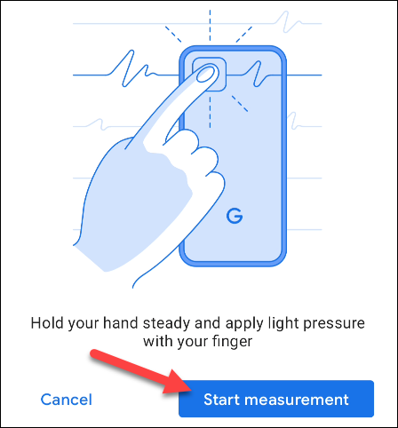 put finger on lens and measure