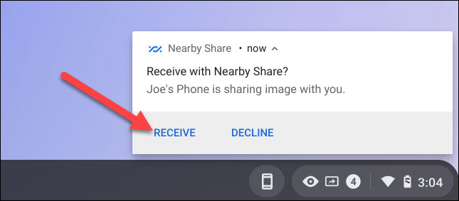 receive nearby share on chromebook