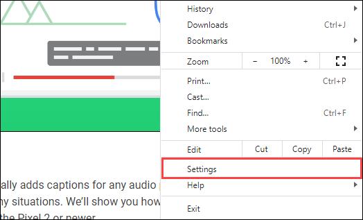 select settings from the menu