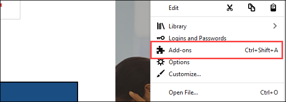 select add-ons from menu