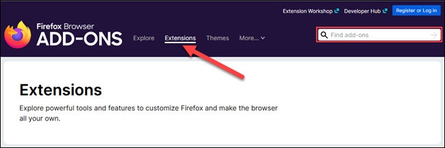 extensions tab or search box