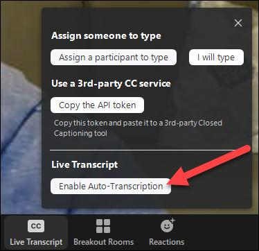 enable live transcription