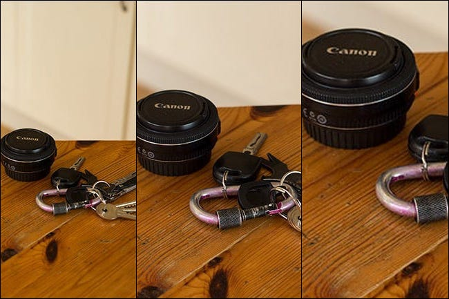Field of view comparison of a 50mm lens on a full frame, APS-C, and Micro Four Thirds camera