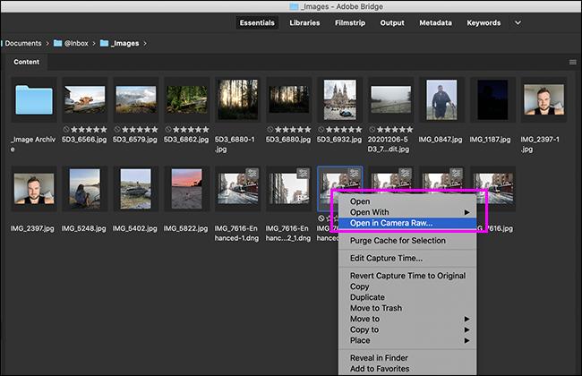 Using Adobe Bridge to open a photo in Adobe Camera RAW.