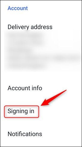 "The ""Signing in"" option on eBay's menu."