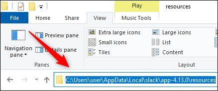 A localização dos Recursos no Windows Explorer.