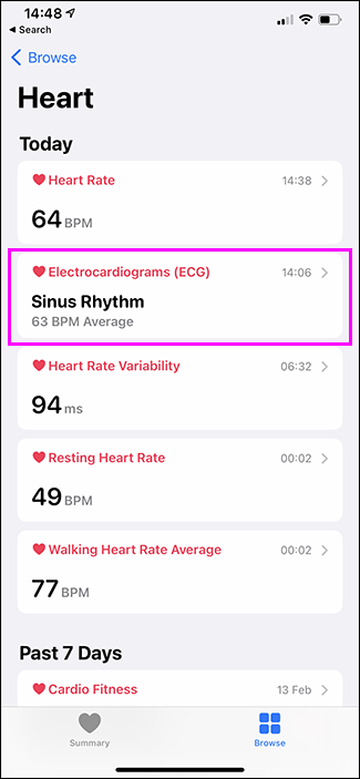 health app with ecg highlighted
