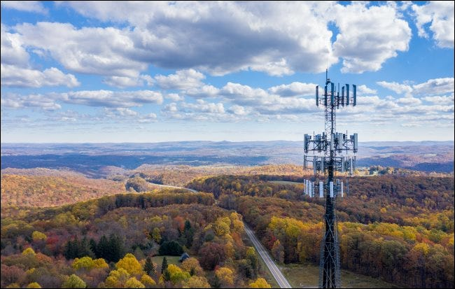 A cellular tower over West Virginia.