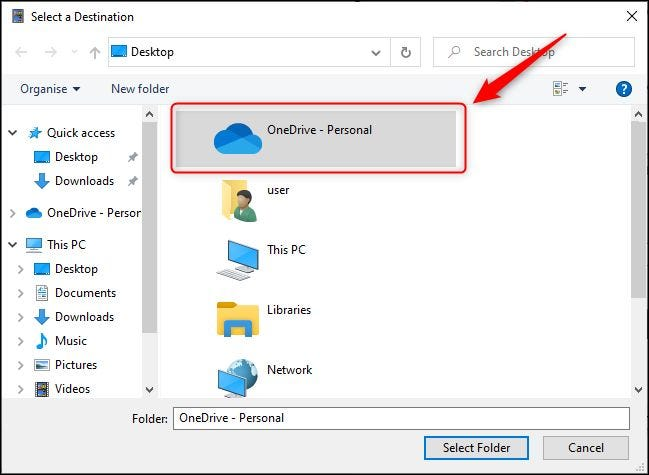 "The ""OneDrive"" folder in the Folders dialogue."