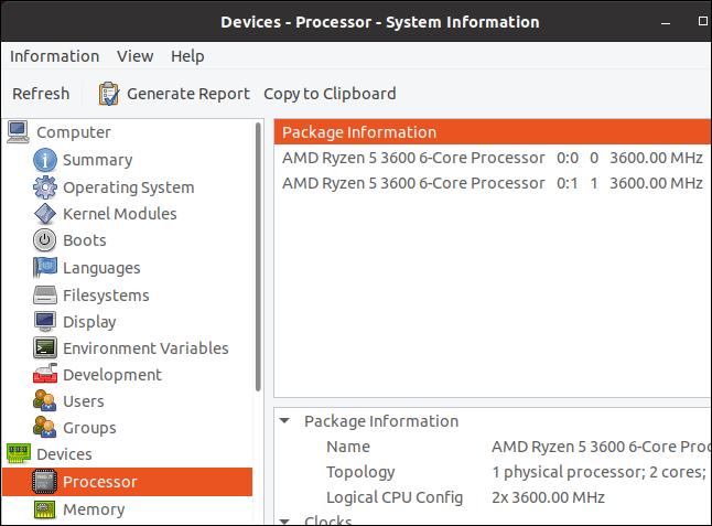 the hardinfo processor display