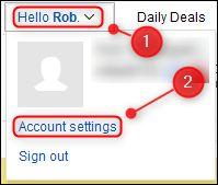 "eBay's ""Account settings"" menu option."