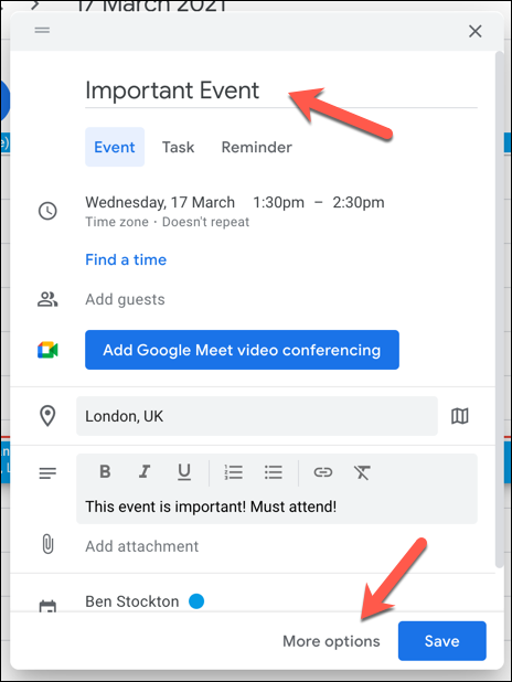 "In the pop-up event details box, add suitable details (such as event title and location) in the box provided, or press ""More Options"" for the wider menu."