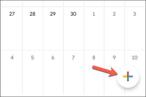 """Чтобы добавить новое событие в мобильное приложение Google Календарь, коснитесь значка """"Добавлять"""" кнопку в правом нижнем углу."""