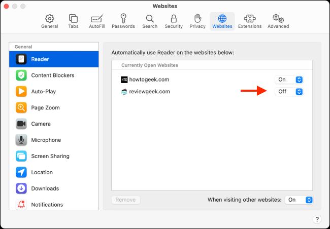 Todos os sites com configurações do modo de leitor no Safari para Mac