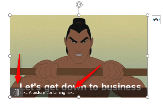 Animated gif with a pause button and alt text
