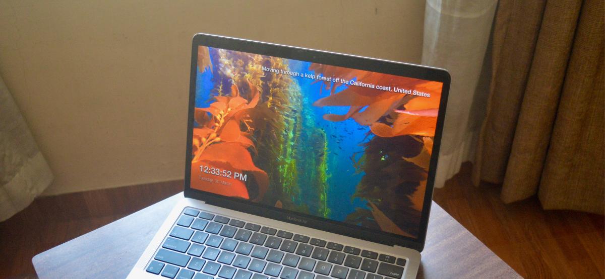 Apple TV Cinematic Screensaver on MacBook