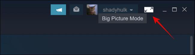 انقر على زر Big Picture Mode في Steam