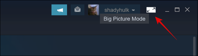 Click on Big Picture Mode Button in Steam