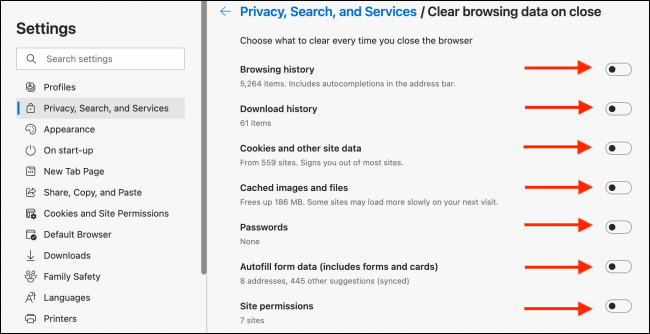 Choose Data To Clear When Closing Microsoft Edge Browser