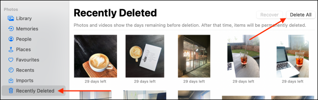 Click Delete All From Recently Deleted