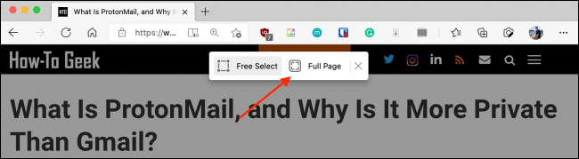 Click Full Page from Web Capture in Microsoft Edge